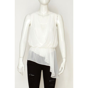 Kenneth Cole Asymetric Layered White Sheer Top